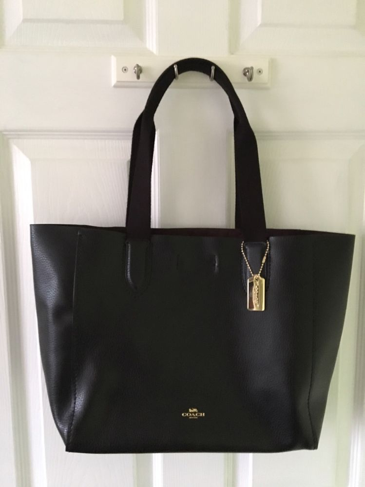 NWT Coach F58660 Derby Tote in Pebble Leather in Black//Oxblood