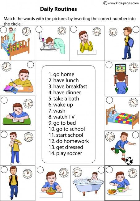 daily routines matching worksheets esl   vocabulary
