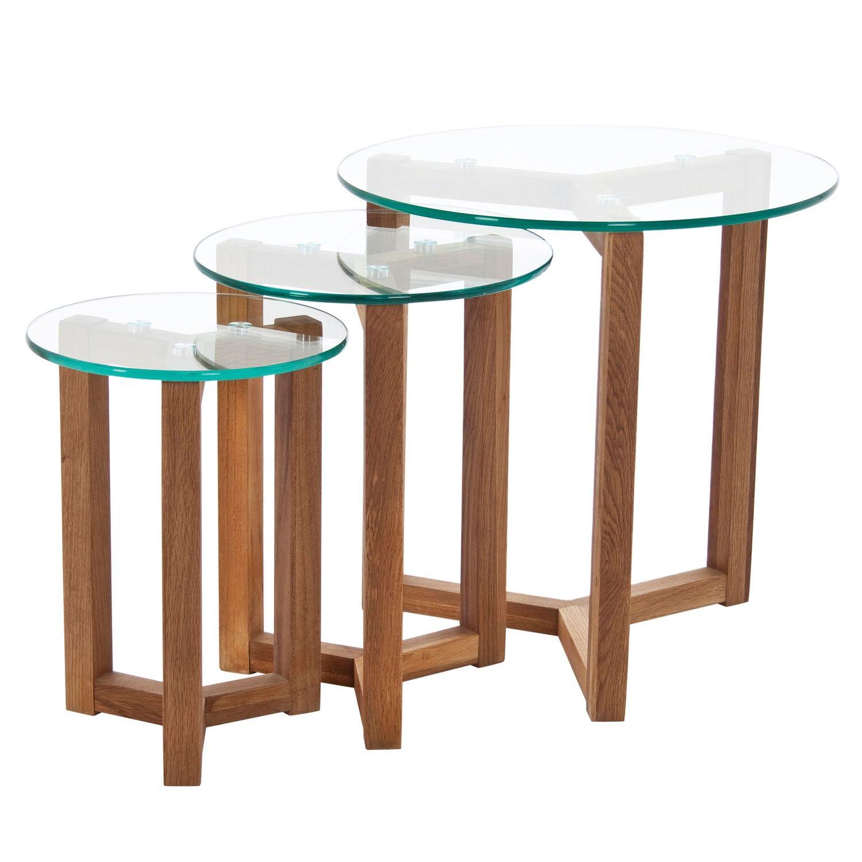 Mesa nido osaka 13620 mesa de centro y auxiliares debenhams oak and glass tokyo nest of 3 tables geotapseo Images