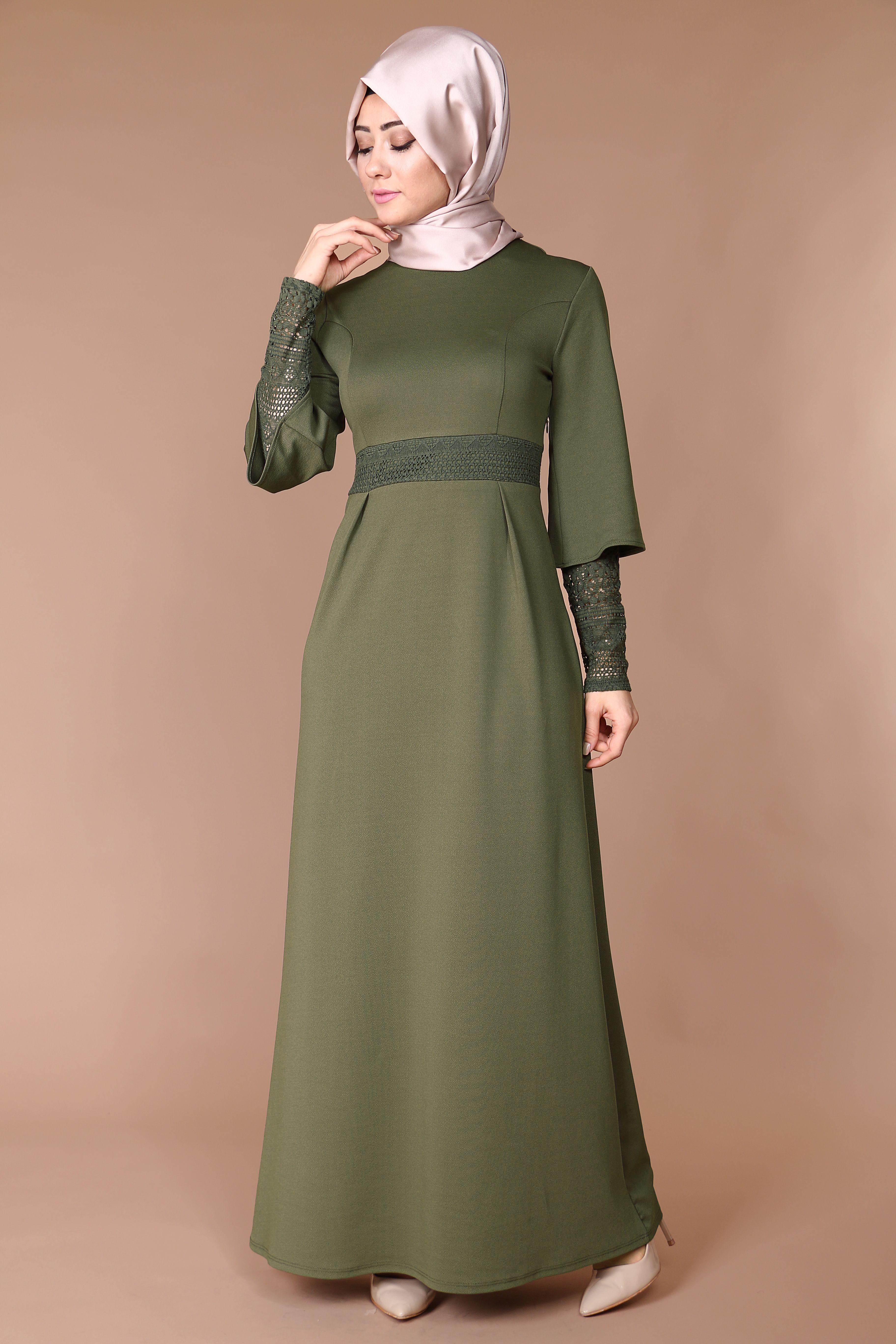 6cfb6af2f3334 Kol içi detaylı elbise MDB3757 Müslüman Elbisesi, Türban Kıyafetler, Hijab  Chic, Islami Moda
