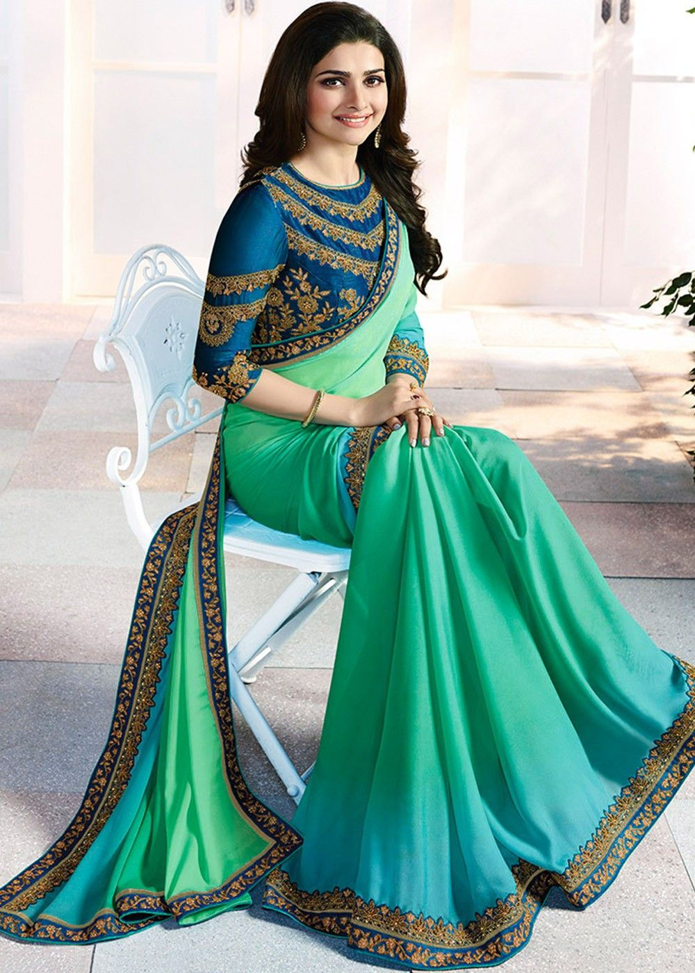 2d828406f17b33 Prachi Desai Sea Green Georgette Shaded Saree with Heavy Blouse ...