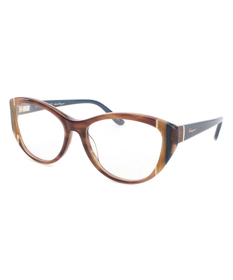 725cad121b925 Salvatore Ferragamo Brown Stripe Cat-Eye Eyeglass Frames by Salvatore  Ferragamo  zulilyfinds