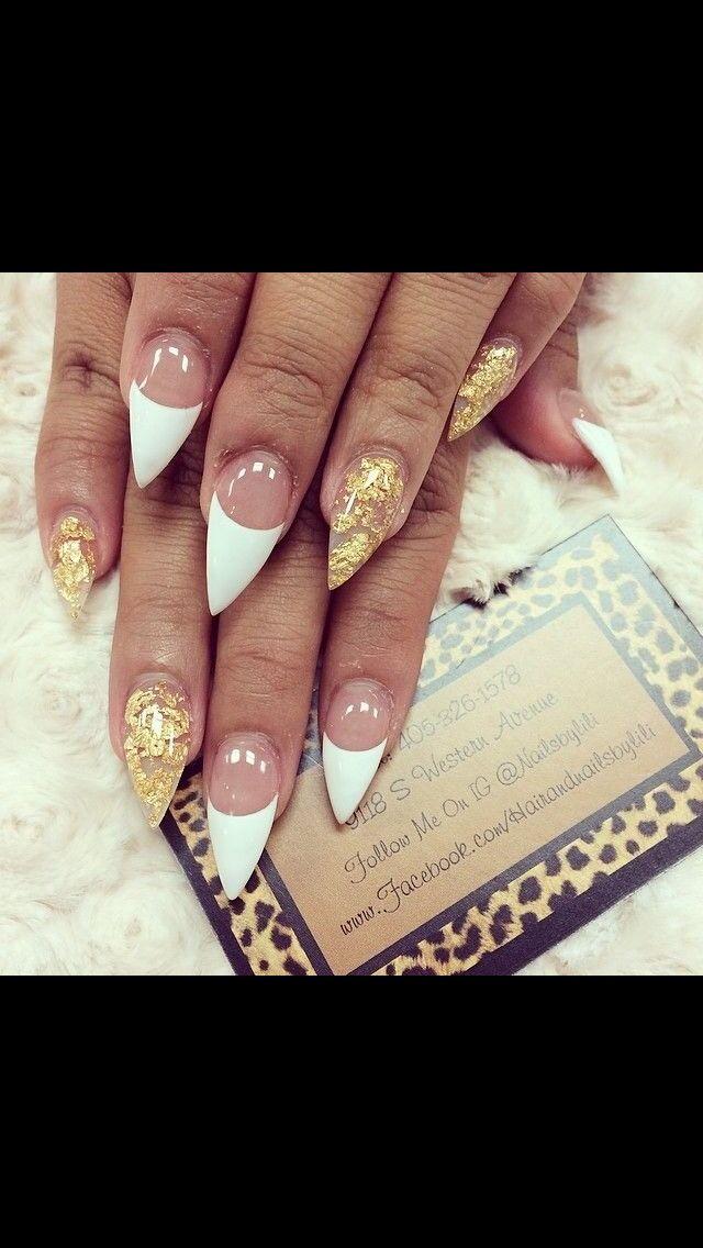 French tip & gold stiletto nails   nails   Pinterest   Gold stiletto ...