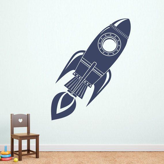 Rocket Wall Decal Ship Decor Boy Bedroom E Sticker