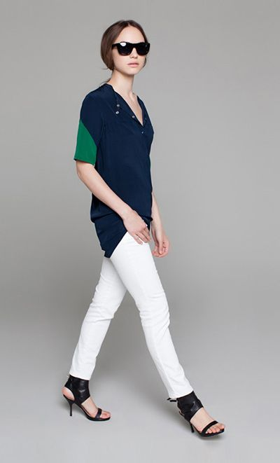 Loving the athletic-inspired top with jeans and those sandals.