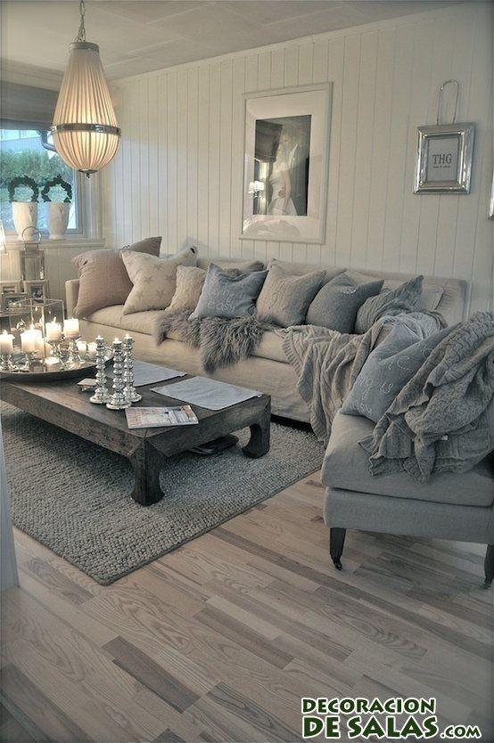 salón decorado en tonos fríos