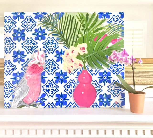 PORTUGESE Tile and a PINK PARROT by annechovie on Etsy
