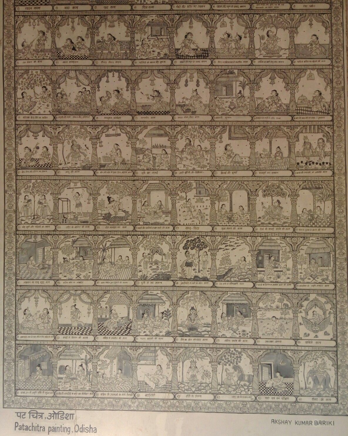 Traditional indian form of painting Pattachitra on wall Wall art