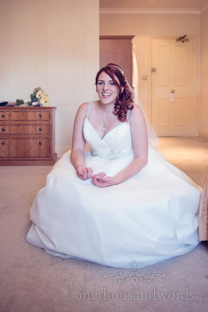 Red Head Bride In White Wedding Dress At Bournemouth Miramar Hotel Photography By One