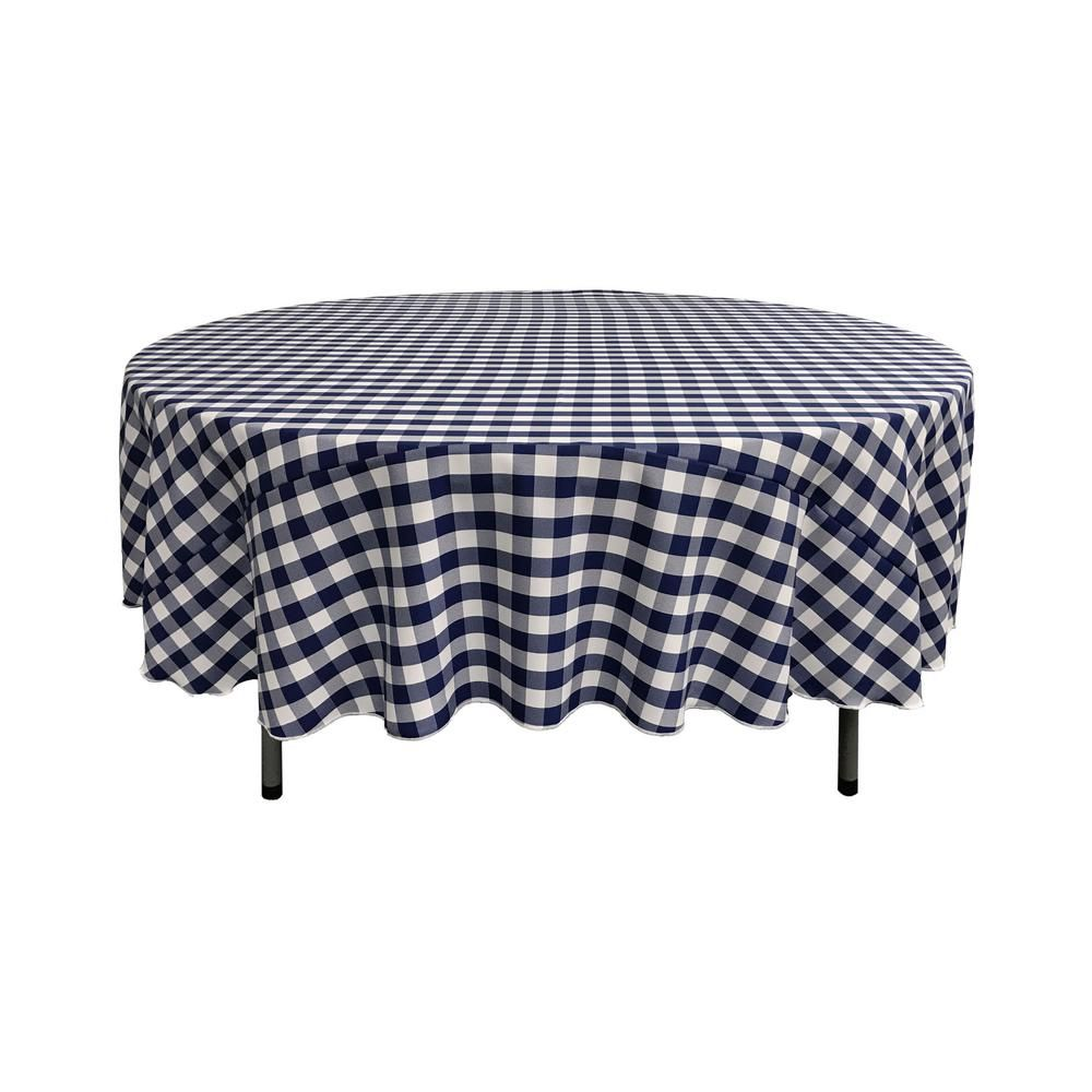 White And Navy Polyester Gingham Checkered Round Tablecloth Blue