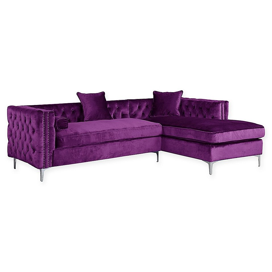 Chic Home Picasso Right Facing Velvet Sectional Sofa In Purple Sectional Sofa Living Room Sofa Sofa Layout