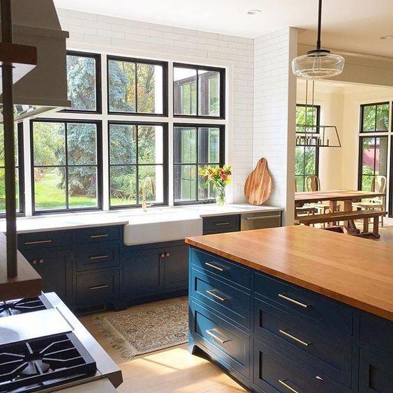 navy cabinets light countertop butcher block island navykitchen in 2020 kitchen design on farmhouse kitchen navy island id=67058