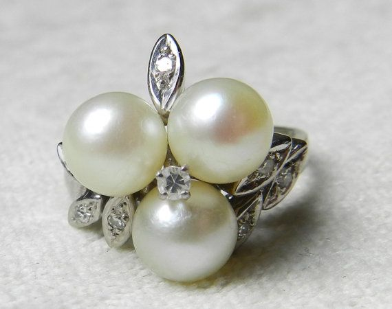 Pearl Ring Pearl Engagement Ring 14K Pearl by LoveAlwaysGalicia