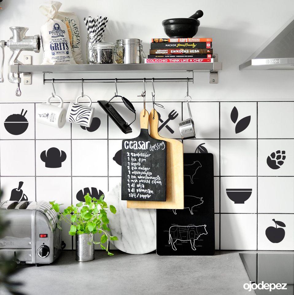 Vinilo decorativo pack 048 azulejos para la cocina for Azulejos decorativos cocina