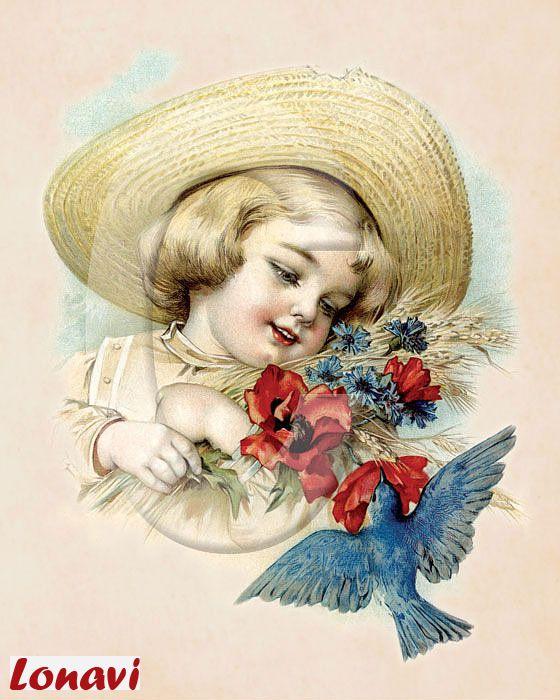 Открытки ретро девочек, именинницей открытка
