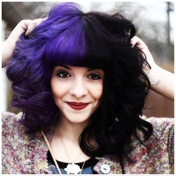 Purple And Black Half And Half Hair Jpg 600 600 Split Dyed Hair Half And Half Hair Two Color Hair