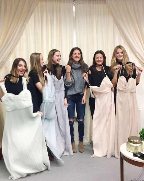 81ff2f119d55 All the feels picking out #AmsaleBridesmaids dresses with bride-to-be Emily  DiDonato #Amsale #bride #bridesmaid #colors #dresses #gown #ideas #long ...