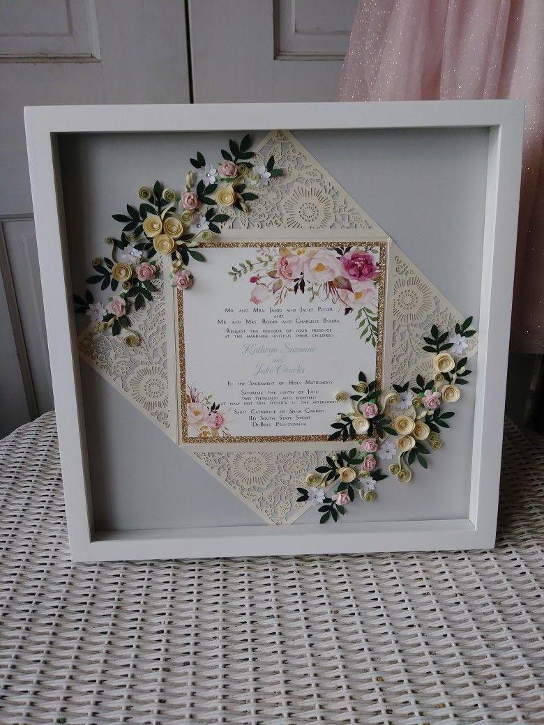 Gold and blush wedding invitation keepsake | Wedding Invites ...