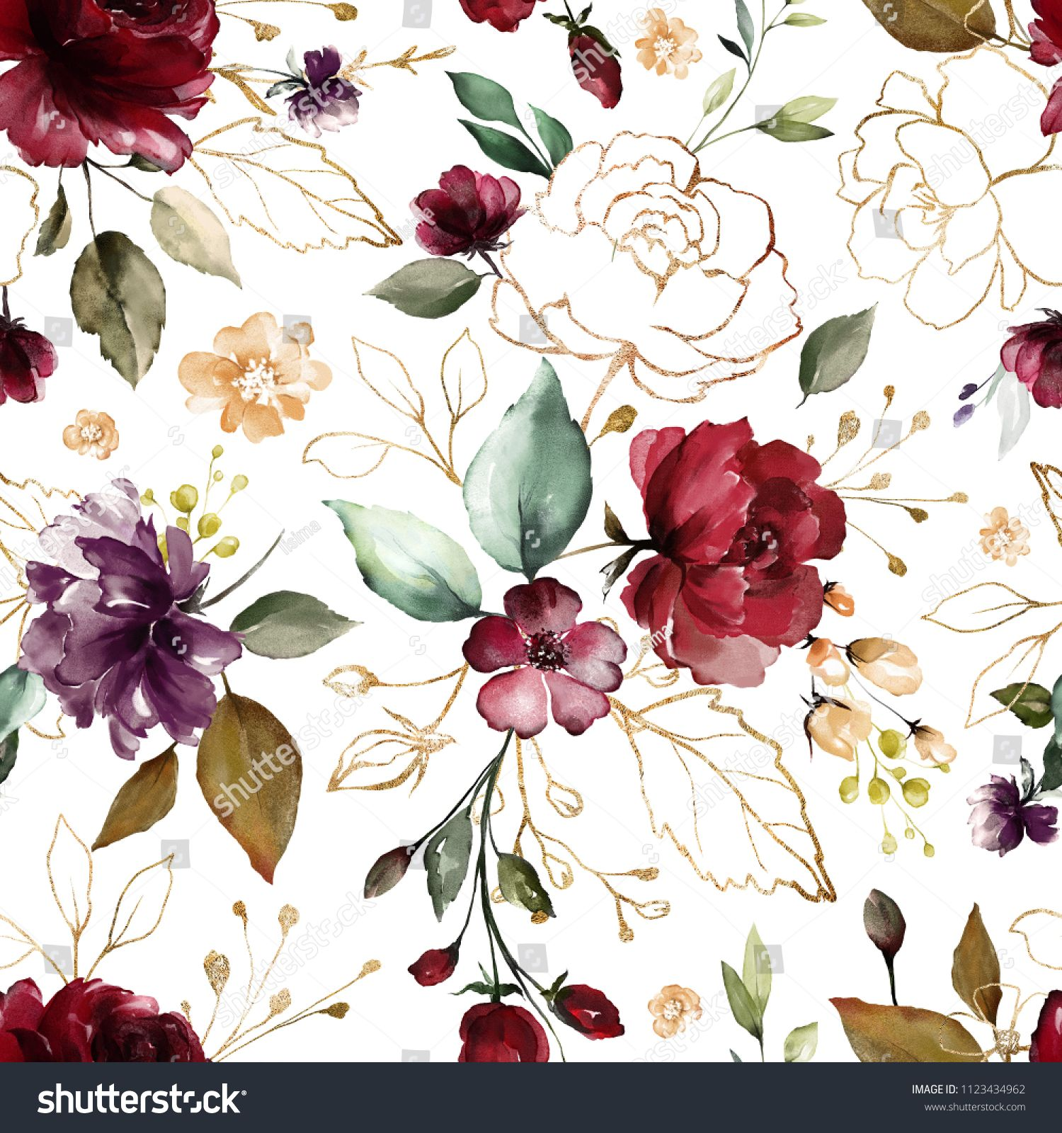 Seamless Pattern With Gold And Burgundy Flowers And Leaves Hand