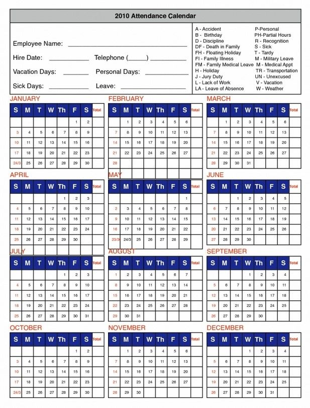 2020 Employee Attendance Calendar Pdf Pin by Lisa Harmeyer on Templates | Attendance tracker, Attendance