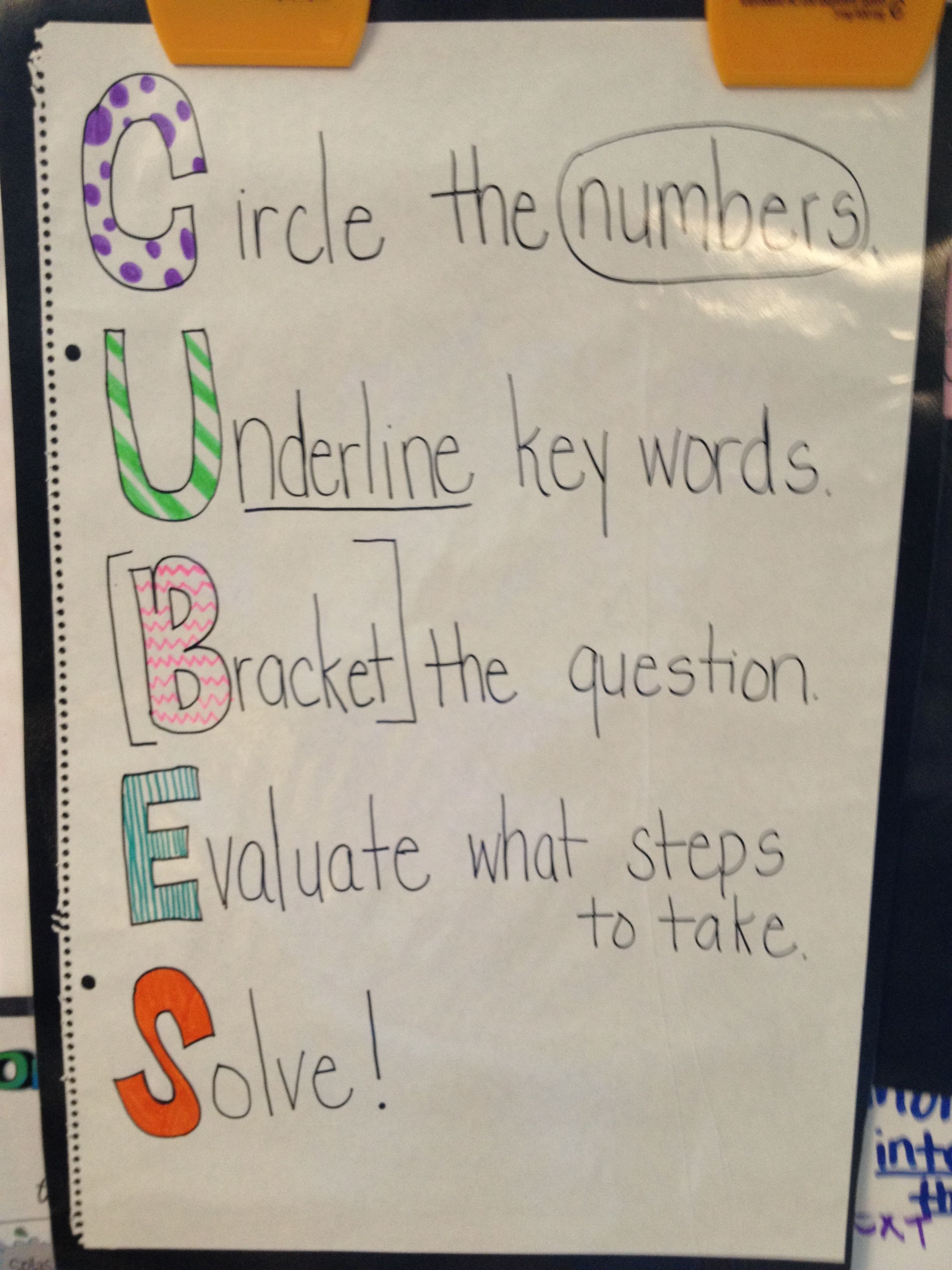 Classroom Ideas Grade 1 ~ Cubes strategy used with math problems th grade
