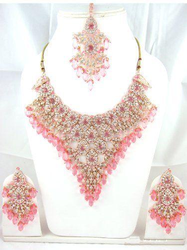 Indian Wedding Necklace Designer Pink Stone Studded Antique Fashion Jewelry Sets Mogul Interior