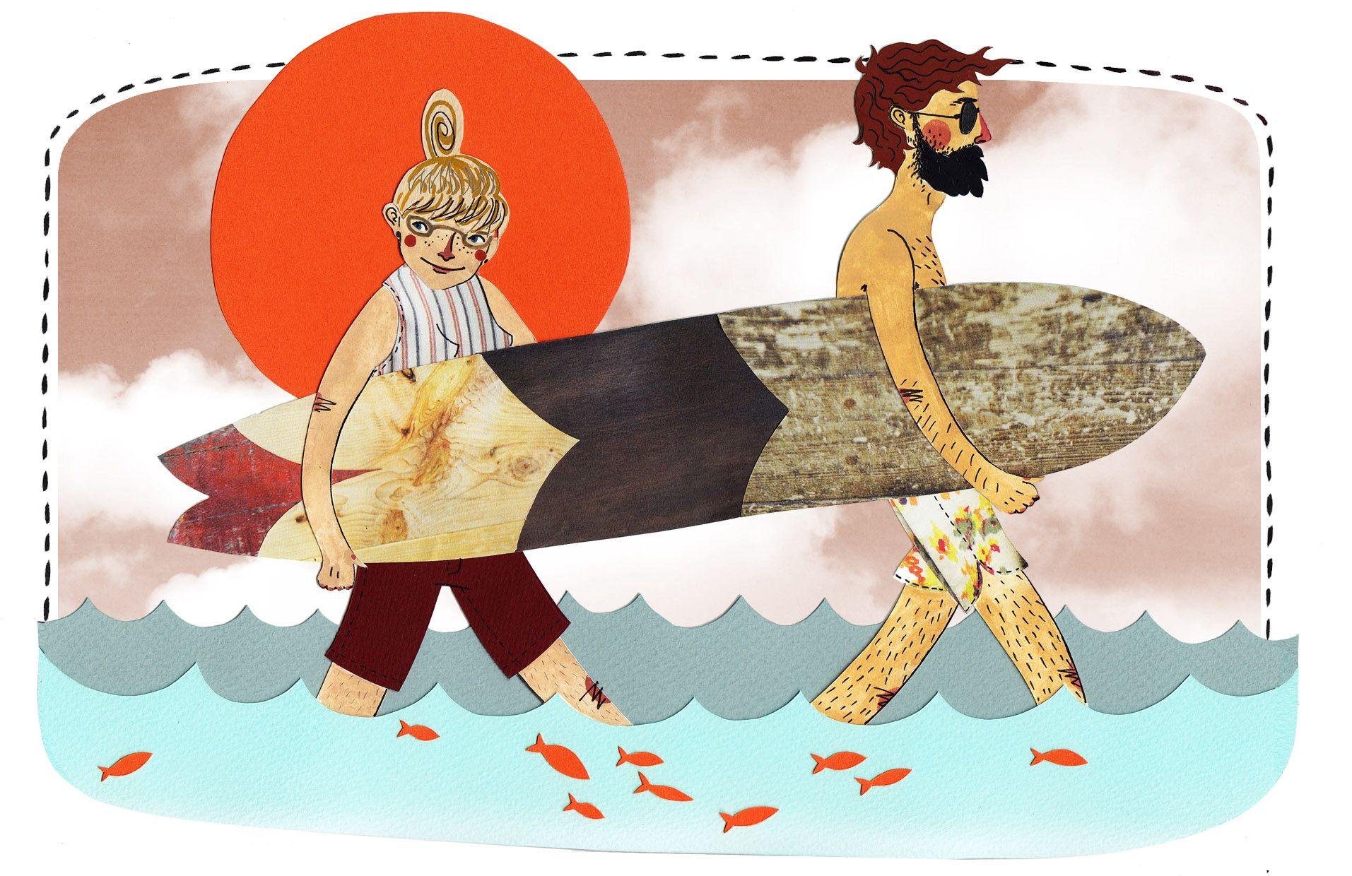 Copyright www.bexbourne.co.uk Bex Bourne illustrator illustration Falmouth collage surfing surfboard sea surf fish longboard sun summer