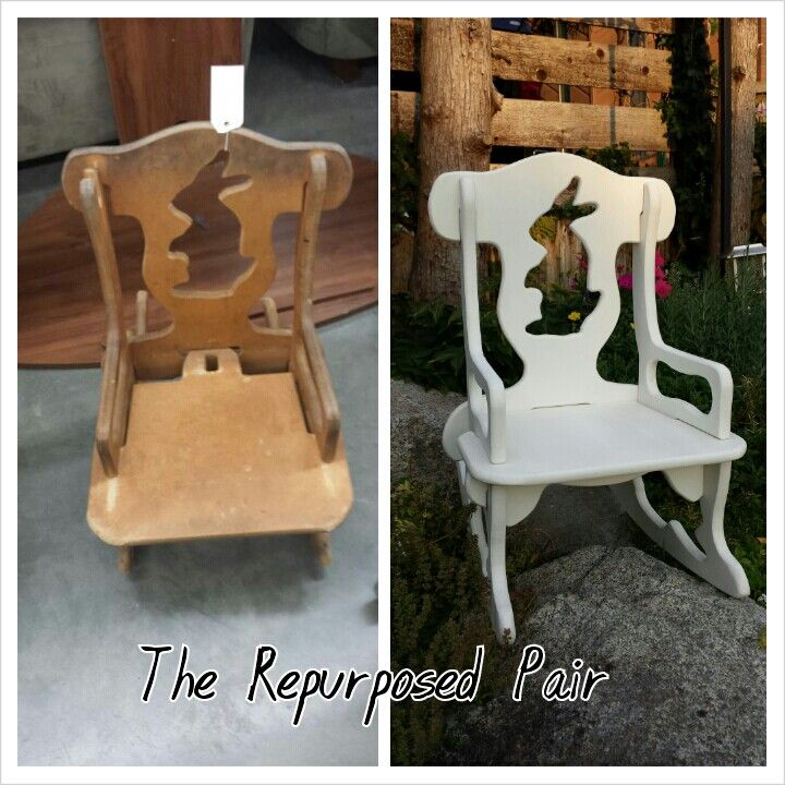 Childs Rocking Chair Repurposed (I love the rabbit on the chairback)
