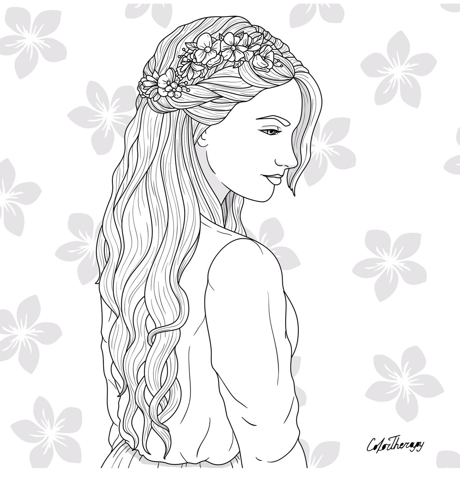The Sneak Peek For The Next Gift Of The Day Tomorrow Do You Like This One Lady Cascade Braid Cool Coloring Pages People Coloring Pages Coloring Pages
