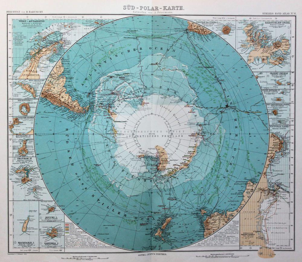 Stieler Antique Colour Map (1909), 50cm x 80cm, Antarctic Circle ...