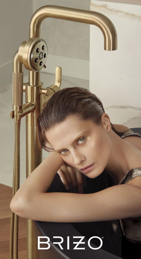 Stunning Gold Fittings With Fine Details Make An Elegant Statement Gather Inspiration From The Luxury Faucets Shower Systems Tu Brizo Tub Faucet Tub Filler