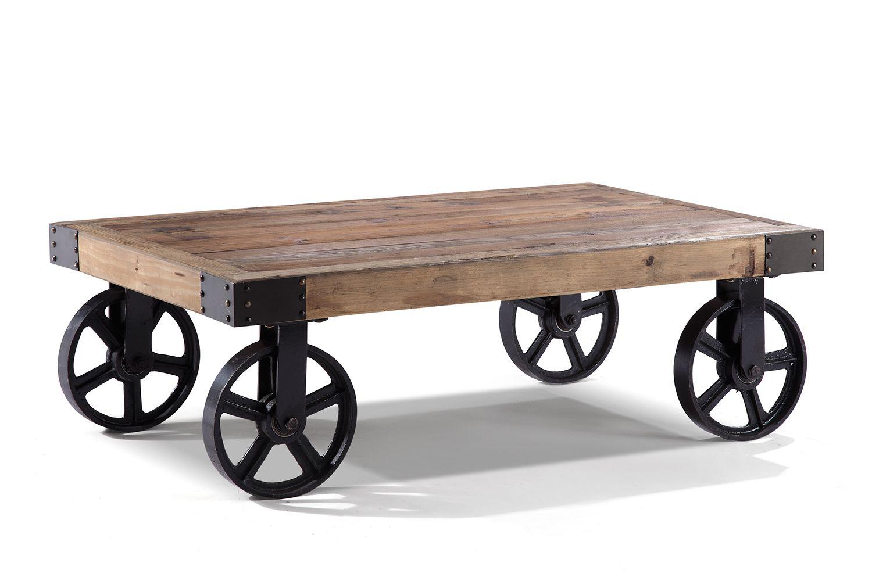 Table Basse Industrielle Roulettes M Tal Et Bois Tables Basses