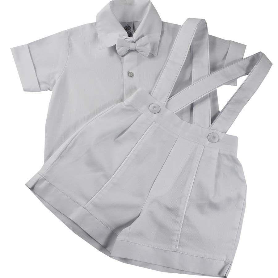 8d3fd07ad5 Cegonha Feliz Roupas Bebê Menino   Conjunto Branco Para Batizado Bebê Menino