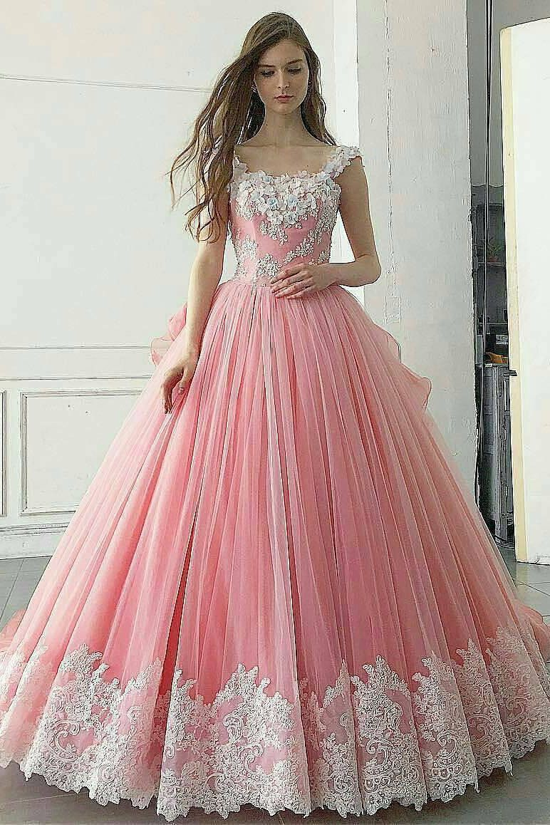 Pink ball gown appliqued a line long prom dresspretty quinceanera