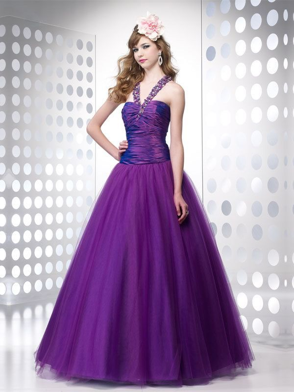 Halter Purple Ball Gown Taffeta Floor-length Ball Gown with Beads ...
