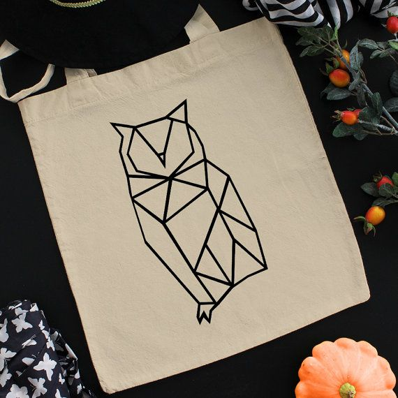 Geometric Owl Gift For Her Ethical Tote Bag Cotton Tote Bag Tote