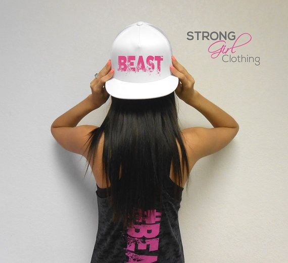 BEAST Hat. Beast Workout Snapback Hat. Flat Bill Cap. Snapback Hat. Cross  Training Hat. Gym Headwear. Strong Girl Hat 4567ba9731b9