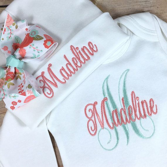PERSONALIZED Newborn Girl Baby Gown and Hat Set Monogrammed Baby Girl Outfit