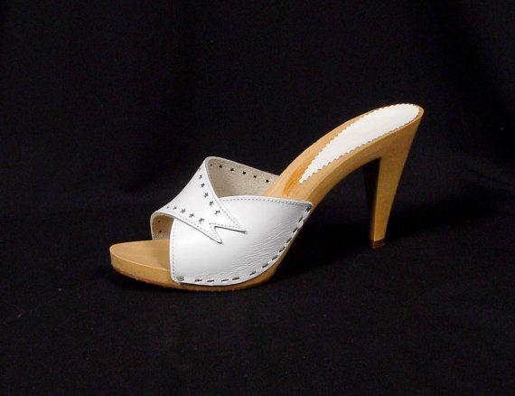 Vintage 80s White Leather Candies Style High Heels Slides NOS Original Box  STARS 8 - Vintage Candies Slip On High Heel Studded Clogs 6 Vintage Candy