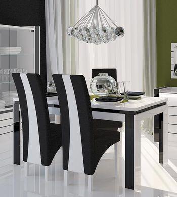 Table De Salle A Manger Design Rectangulaire Indro Coloris Blanc Blanc Noir Laque Salle A Manger Design Chaise Salle A Manger Salle A Manger Noire Et Blanche