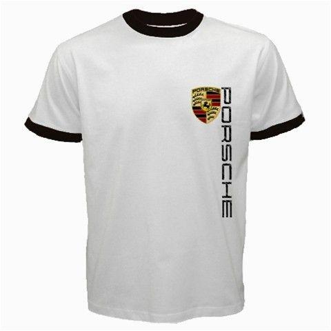 porsche logo t shirt men short sleeve tshirt white ringer. Black Bedroom Furniture Sets. Home Design Ideas