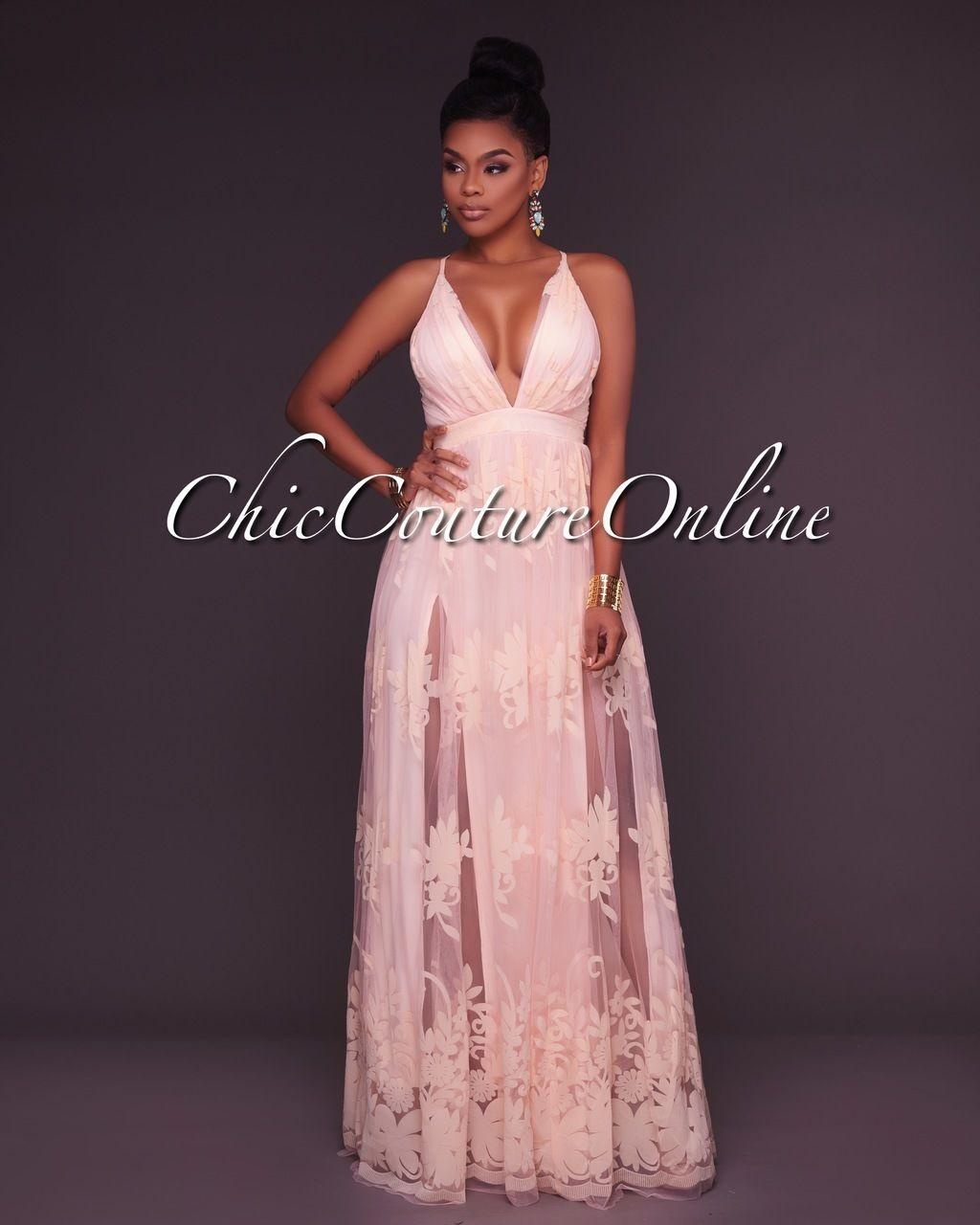 Amabel Soft Peach Floral Print Nude Tulle Maxi Dress | Vestiditos