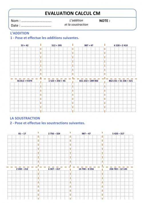 Evaluation calcul cm addition soustraction for Calcul multiplication ce2
