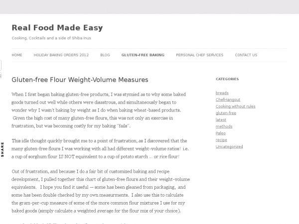 Real Food Made Easy. Here is a chart for gluten free flour weights.