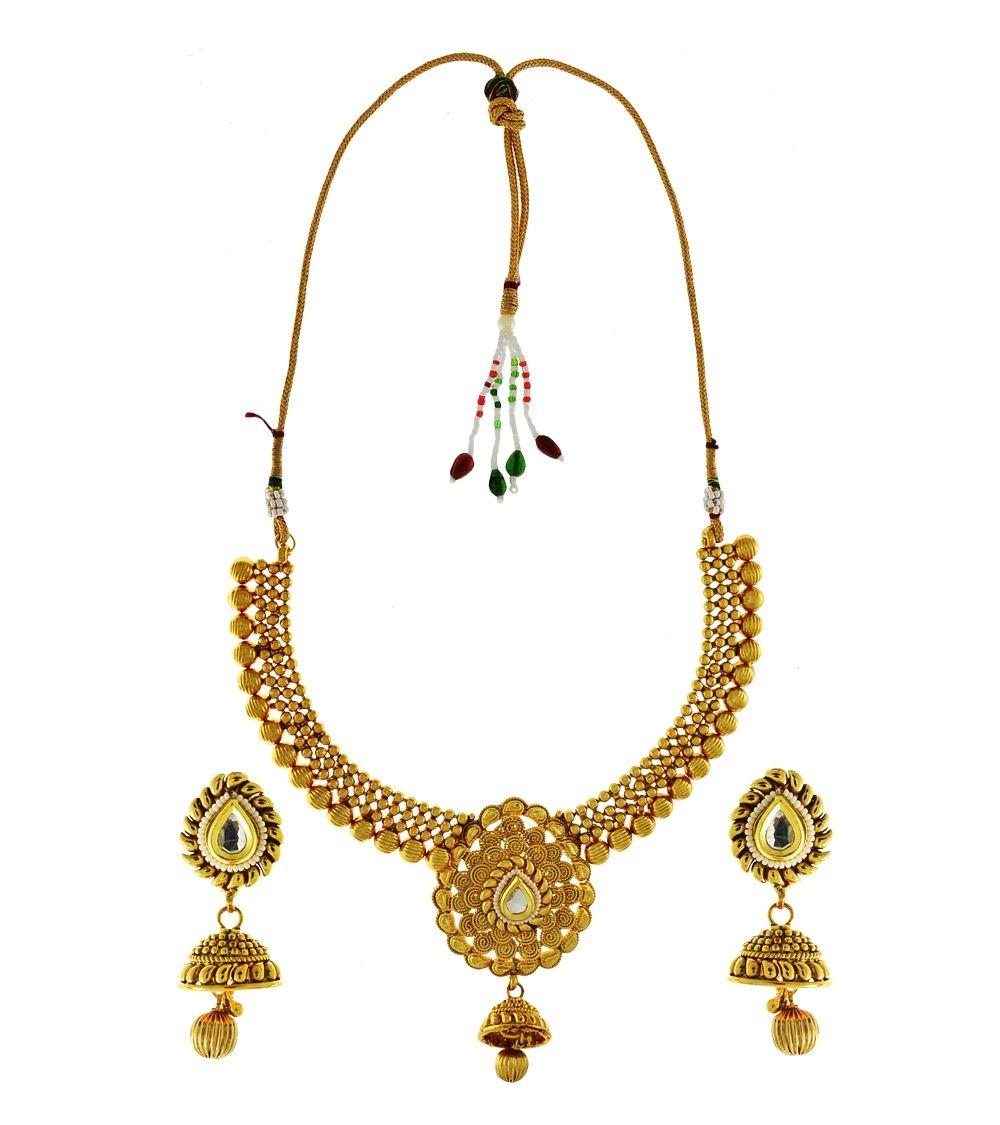 Golden brass kundan u bead embellished necklace set wraps sarees