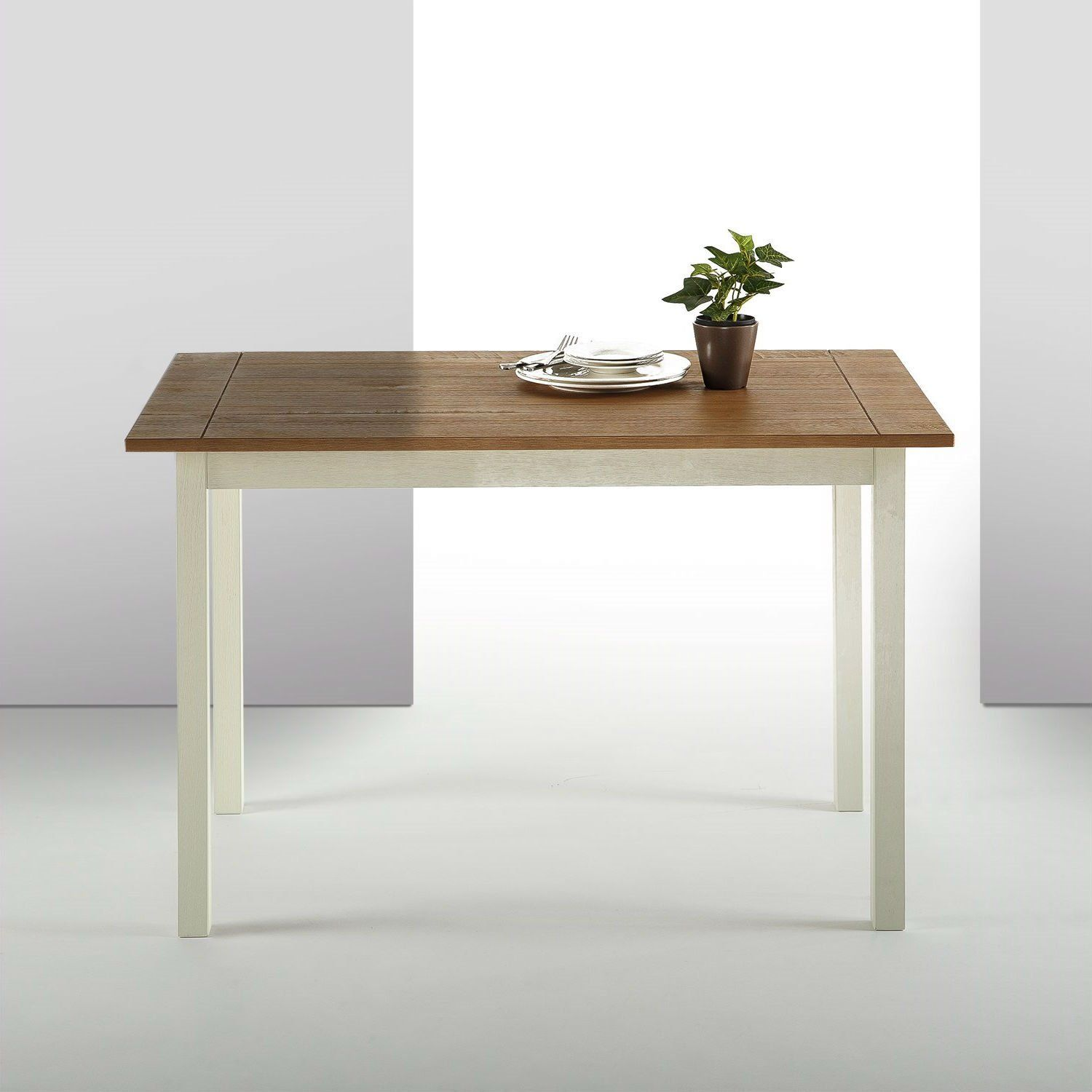 Classic pine wood 45 x 28 inch dining table with white