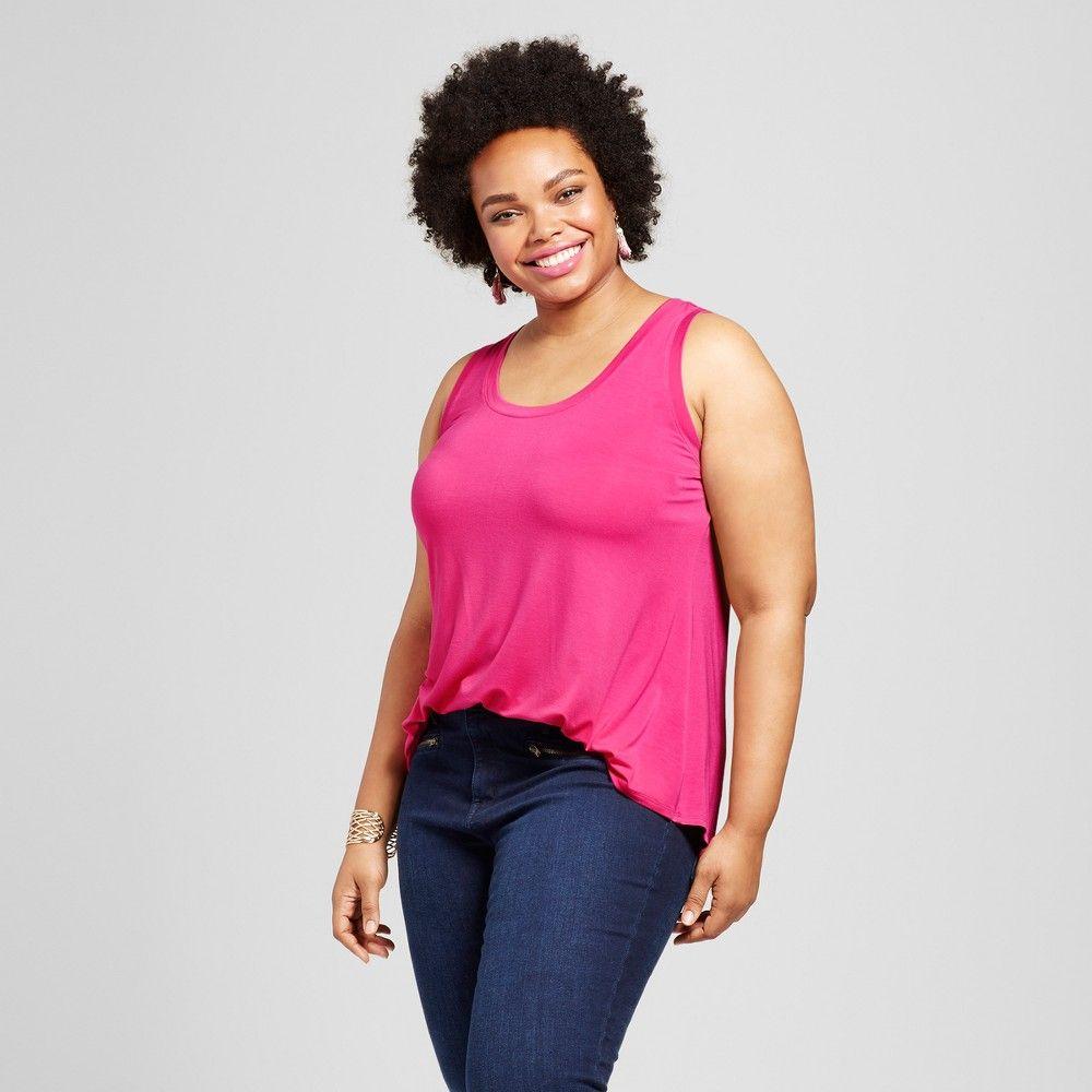 Women's Plus Size Drapey Tank - Ava & Viv Very Pink 4X