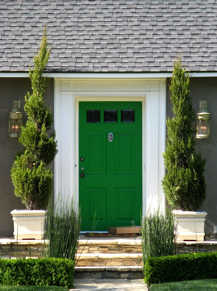 Green door with dark grey house for one of houses this is - What color door goes with gray house ...