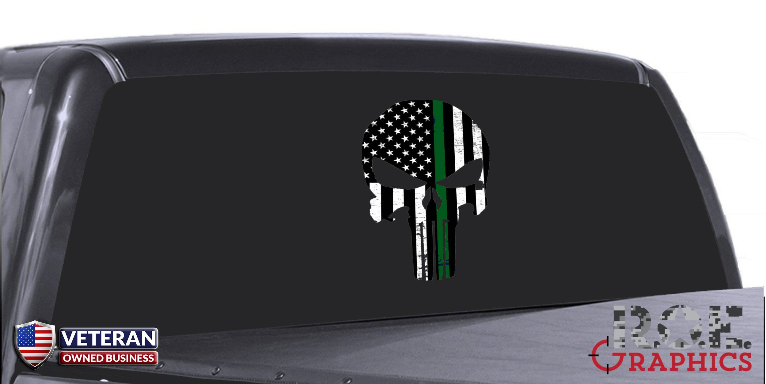 Punisher Skull Window Decal Thin Green Line Vinyl Graphic Veterans  # Gadsden Muebles
