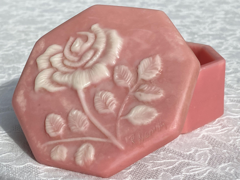 R Nemith Soapstone Octagonal Pink Rose Trinket Box